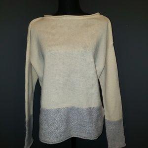 Athleta Blend Border Cream Wool Sweater